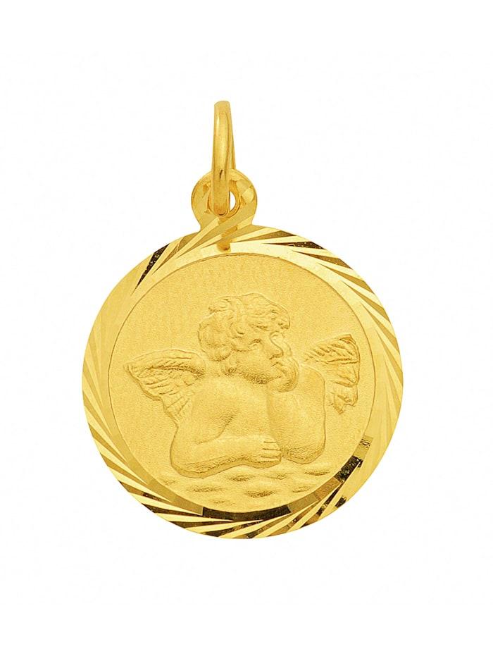 1001 Diamonds Damen Goldschmuck 585 Gold Anhänger Amor Ø 14 mm, gold