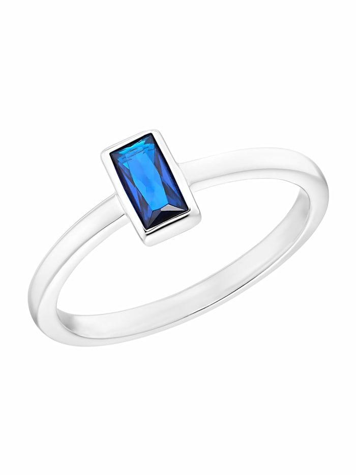 s.Oliver Ring für Damen, 925 Sterling Silber mit Zirkonia blau, Blau