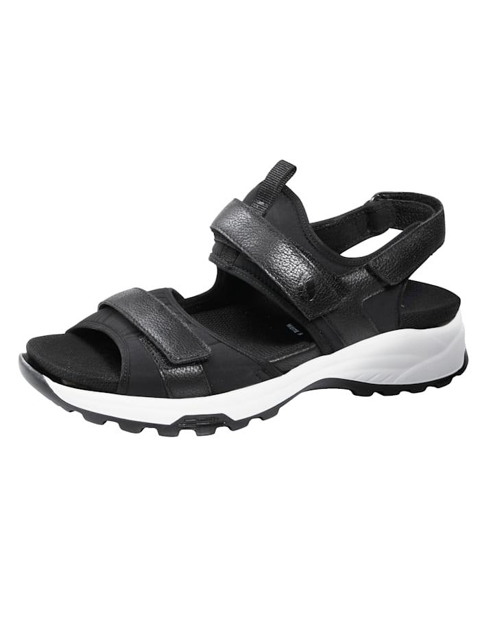 Waldläufer Sandale mit Stretchmaterial, Schwarz