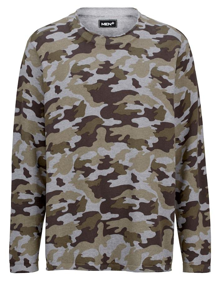 Men Plus Pullover mit Allover-Print im Camouflage-Look, Grau/Oliv
