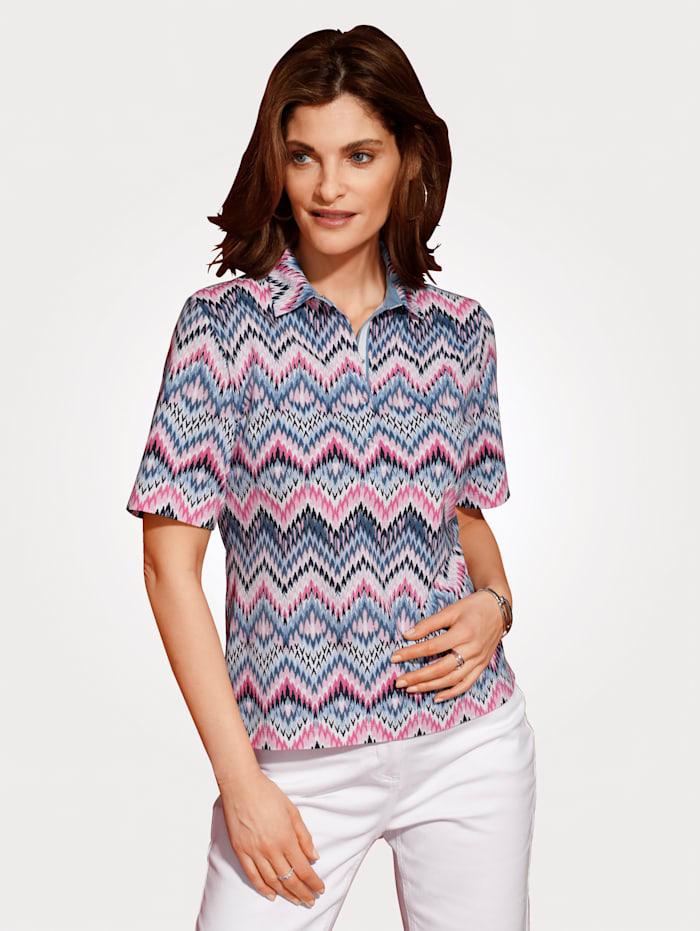 Rabe Poloshirt mit Zick-Zack-Dessin, Blau/Rosé/Weiß