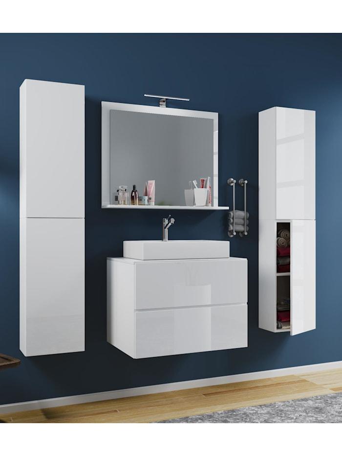 VCM 5-tlg. Waschplatz Waschtisch Lendas Schublade, Breite 80 cm: Weiß