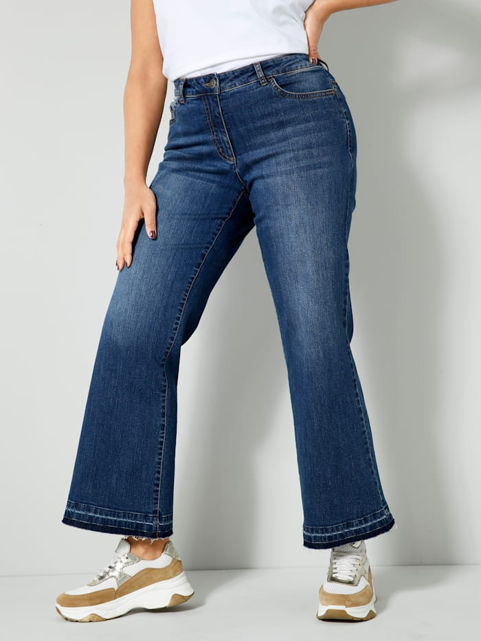 Angel of Style Bootcut-Jeans mit offenem Saum, Blue stone