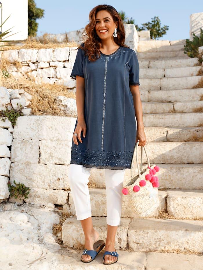MIAMODA Kleid mit femininer Spitze am Saum, Jeansblau