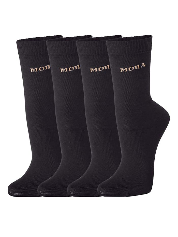 MONA Dámské ponožky s komfortním zakončením, Černá