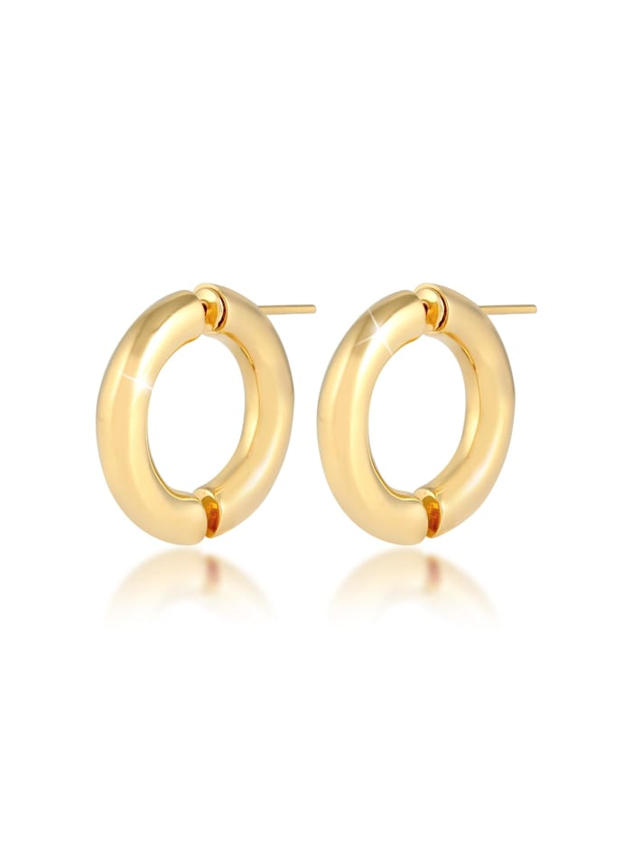 Elli Premium Ohrringe Chunky Creolen Casual Look Blogger 925 Silber, Gold