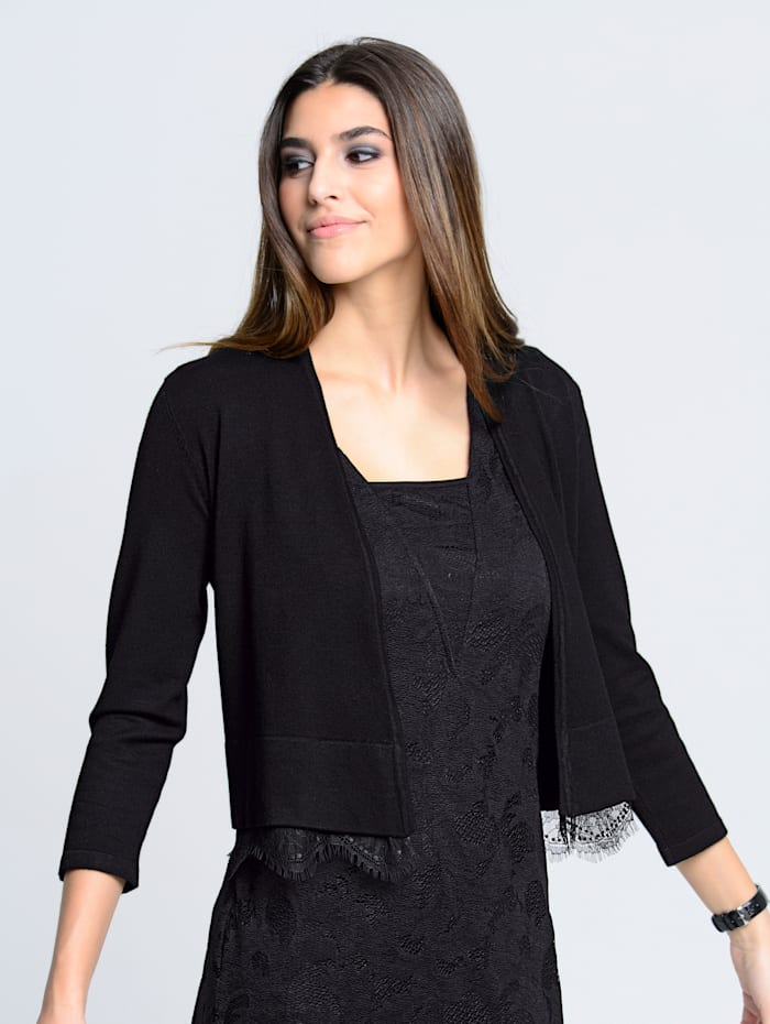 Alba Moda Vest met kanten zoom, Zwart