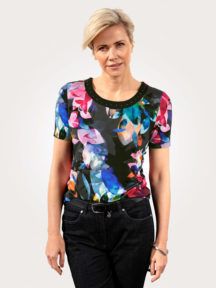 MONA Top with a floral print, Black/Berry/Blue