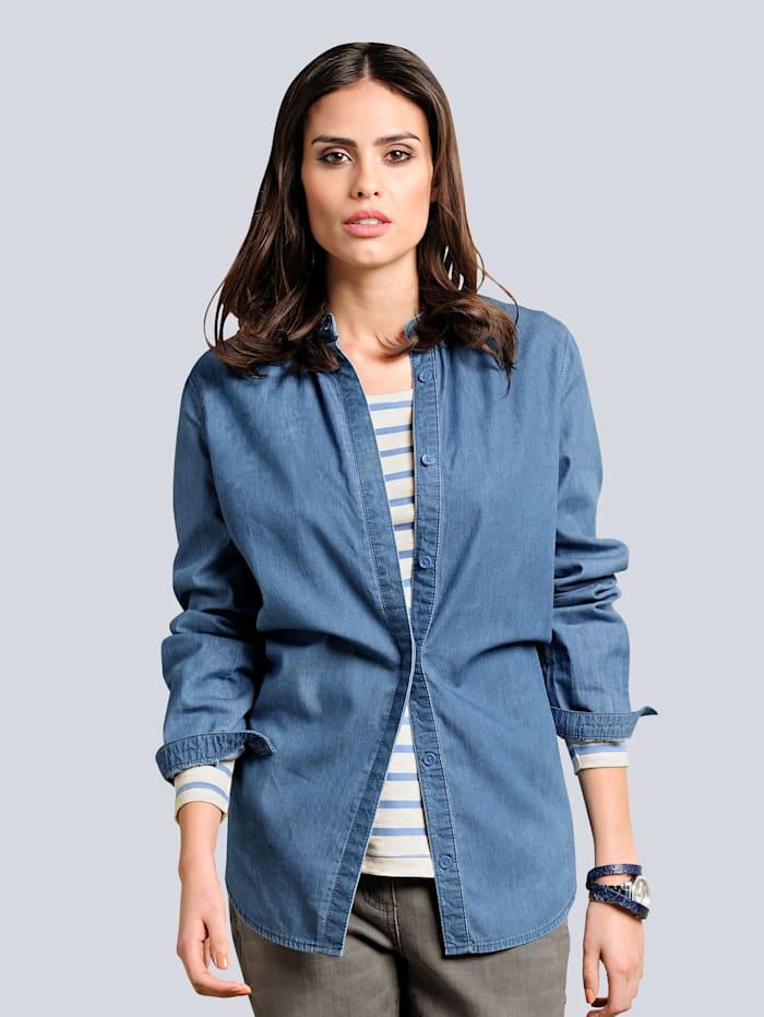 Alba Moda Jeansbluse mit Stehkragen, Blau
