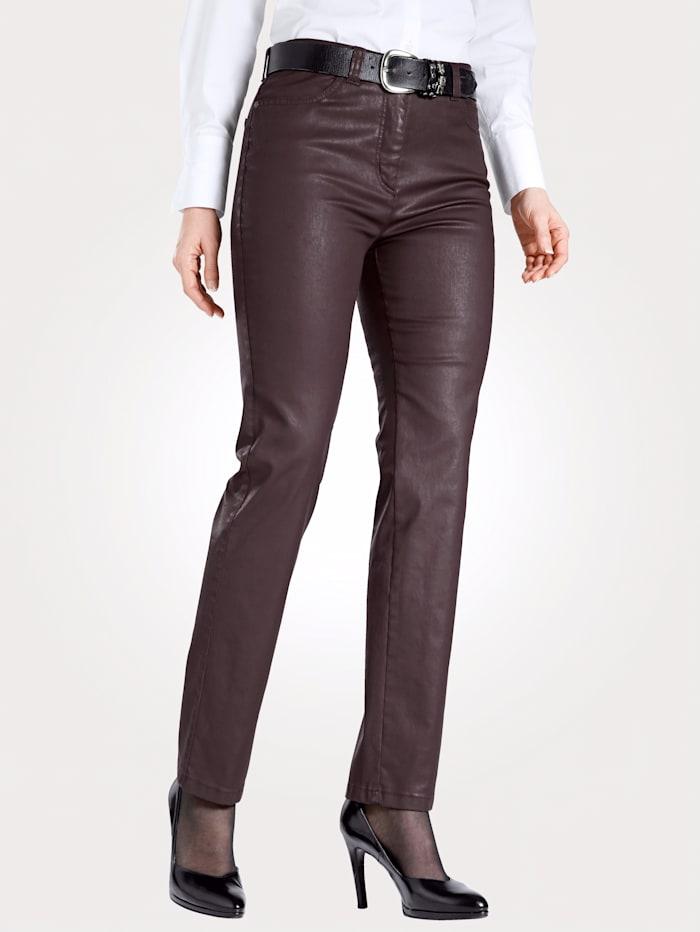 Toni 5-Pocket-Hose in Leder-Optik, Beere