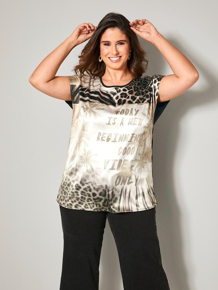 Sara Lindholm Shirt in weich fließender Qualität, Schwarz/Beige