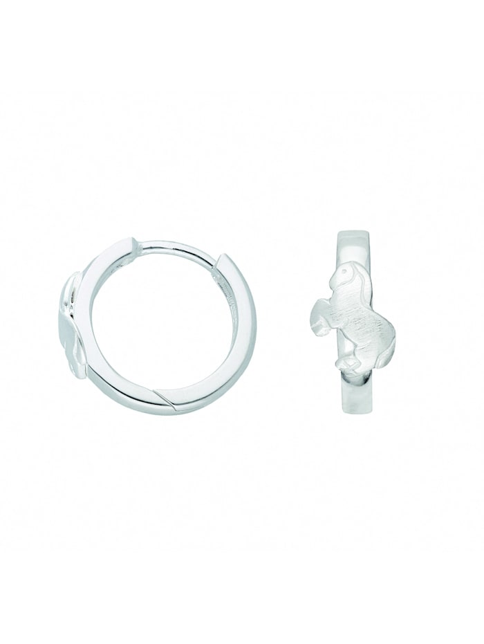 1001 Diamonds Damen Silberschmuck 925 Silber Ohrringe / Creolen Pferd Ø 14 mm, silber