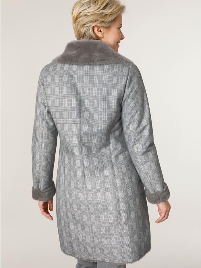 Manteau en fausse fourrure à motif à carreaux