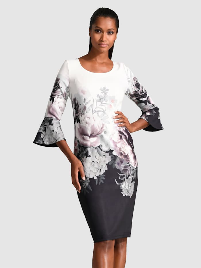 Alba Moda Kleid mit Volantärmeln, Weiß/Schwarz/Rosé