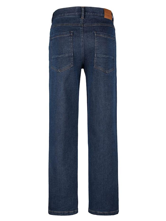 Jeans met inzetten van imitatieleer