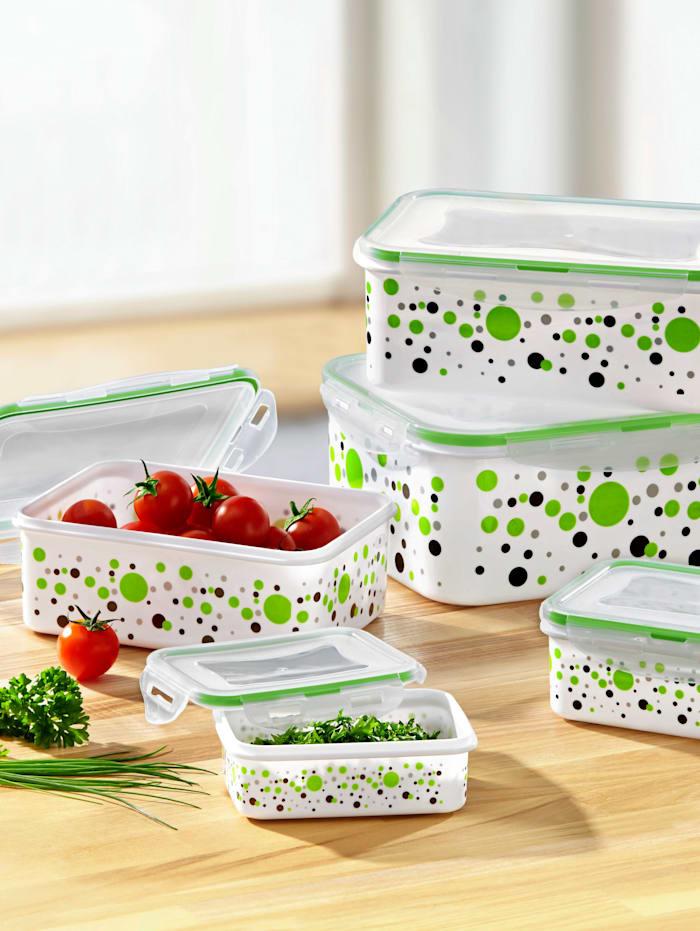 5 matlådor med snäpplock, grön