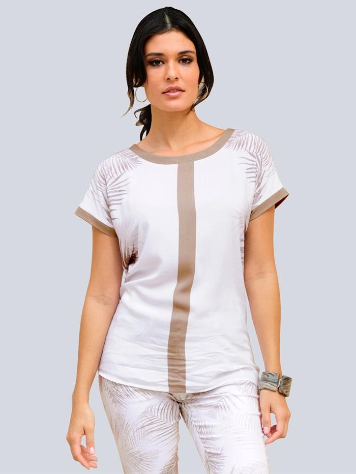 Alba Moda T-shirt à imprimé exclusif Alba Moda, Blanc/Noisette/Beige