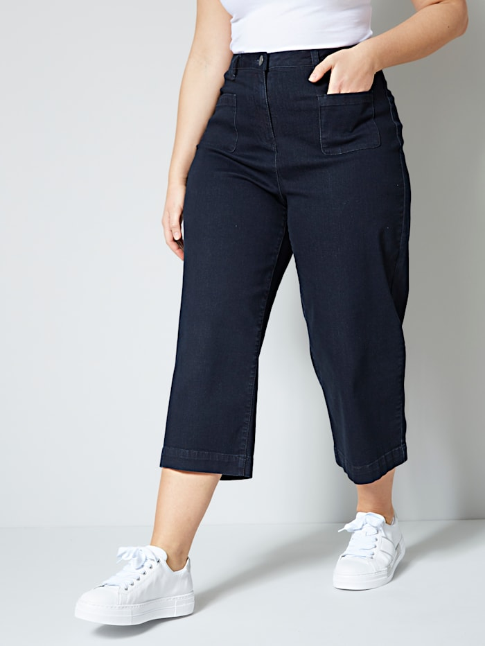 Jeans-Culotte in weiter Form