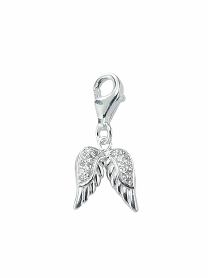 1001 Diamonds 1001 Diamonds Damen Silberschmuck 925 Silber Charms Anhänger Fluegel mit Zirkonia, silber