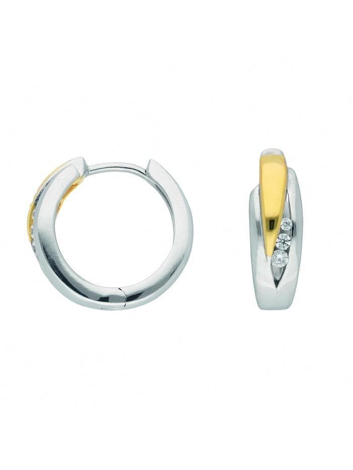 1001 Diamonds Damen Silberschmuck 925 Silber Ohrringe / Creolen mit Zirkonia Ø 15,7 mm, silber
