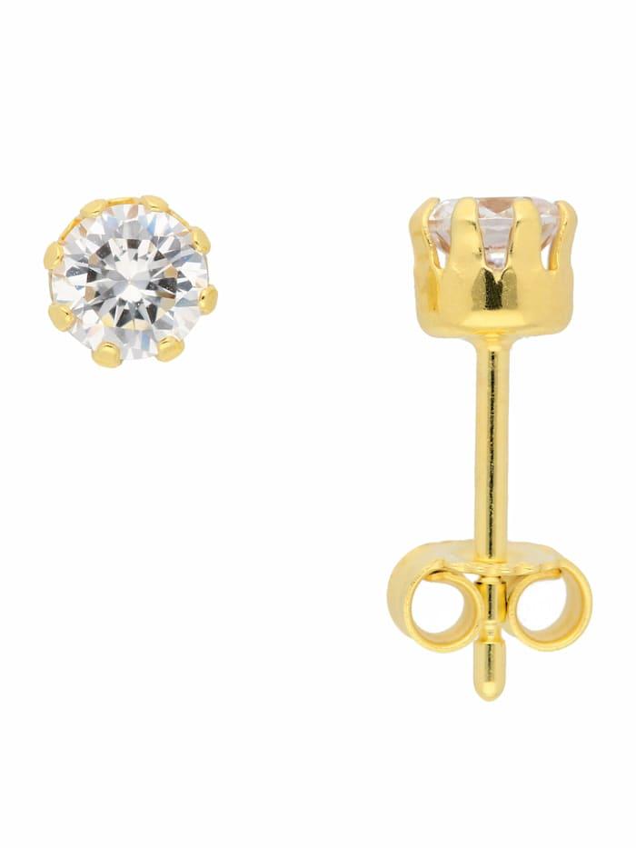 1001 Diamonds 1001 Diamonds Damen Goldschmuck 333 Gold Ohrringe / Ohrstecker mit Zirkonia Ø 5 mm, gold