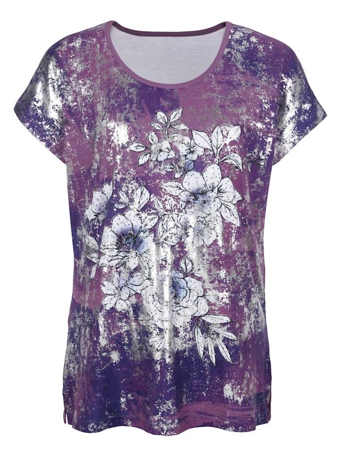 m. collection Shirt met bloemenprint voor, Rozenhout