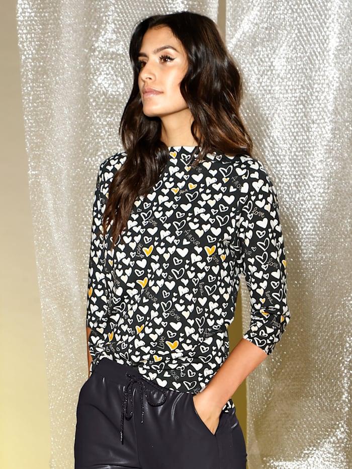 AMY VERMONT Shirt mit Herzchen-Druck, Schwarz/Weiß/Gelb