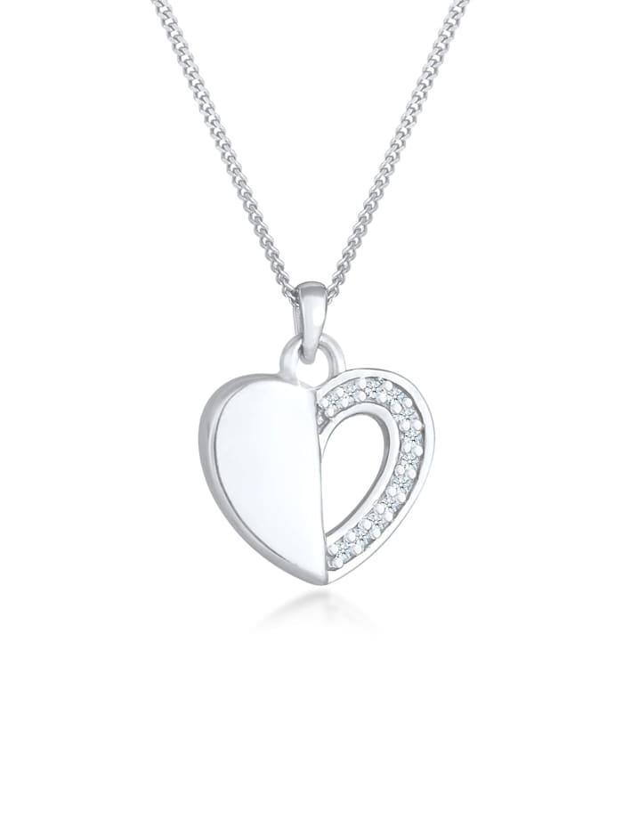 DIAMORE Halskette Herz Ewigkeit Diamant (0.06 Ct.) 925 Silber, Silber