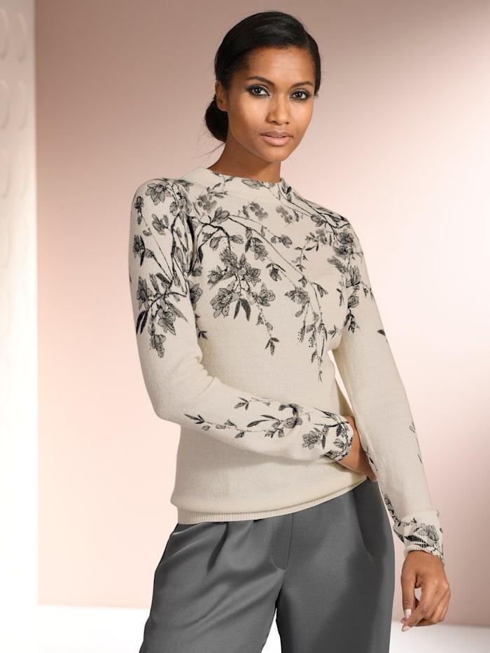Alba Moda Pullover mit Strassverzierung, Off-white/Grau