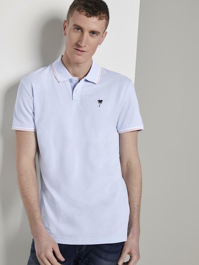 Tom Tailor Denim Poloshirt mit Stickerei in Melange-Optik, fresh icy blue melange