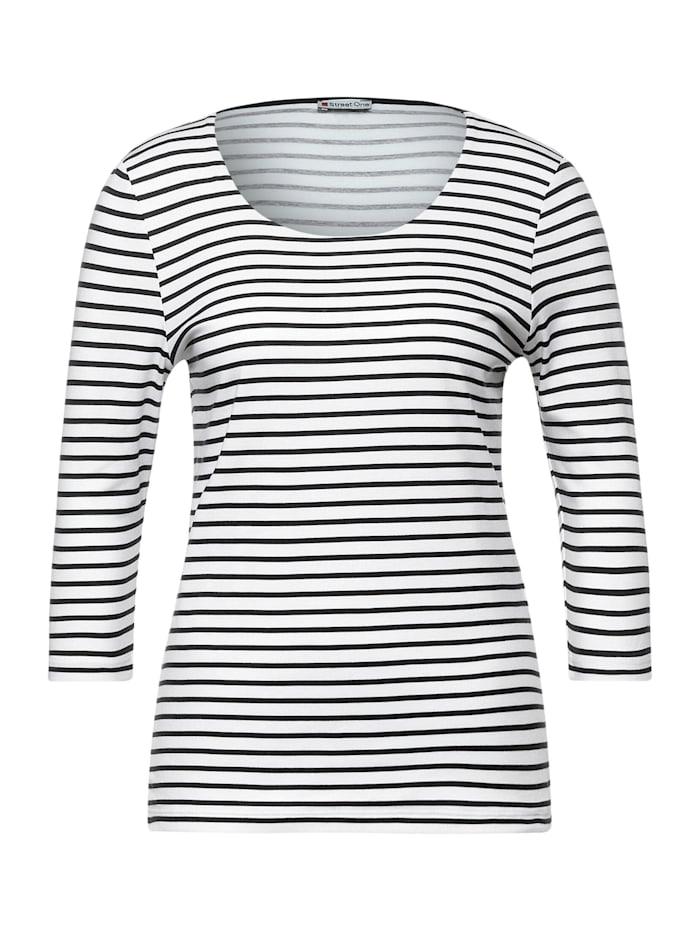 Street One Shirt mit Streifen, off white