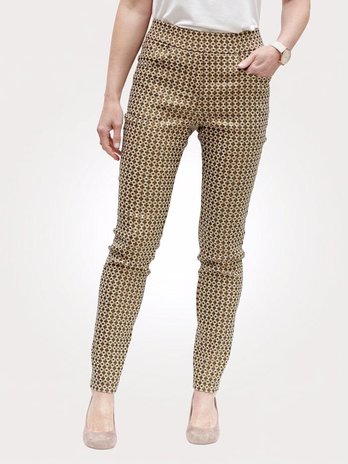 MONA Pantalon facile à enfiler en jersey jacquard, Beige/Écru/Marron foncé