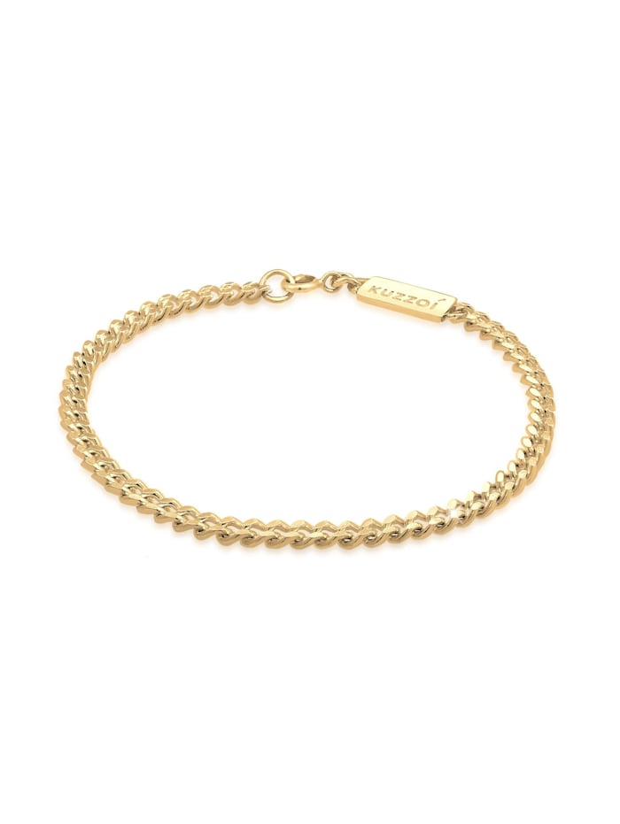 Kuzzoi Armband Basic Herren Panzerkette Massiv Piece 925 Silber, Gold