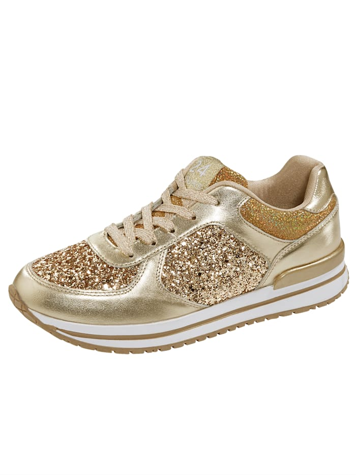 24 Hours Sneaker in edlem Materialmix, Goldfarben