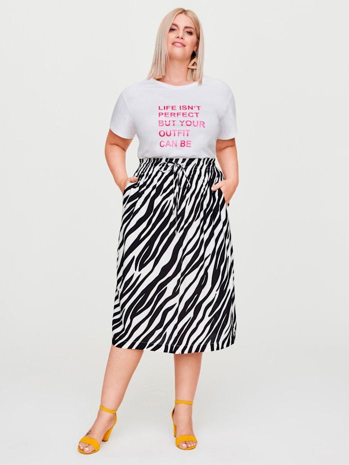 Rock Your Curves by Angelina K Shirt mit Statementdruck, Weiß/Pink
