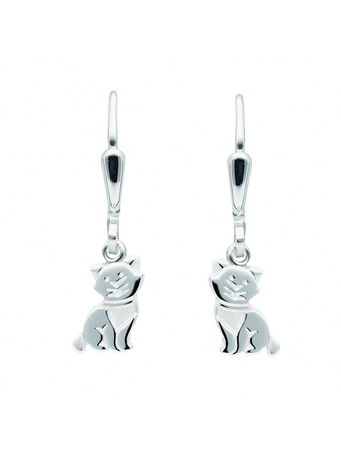 1001 Diamonds Damen Silberschmuck 925 Silber Ohrringe / Ohrhänger Katze, silber