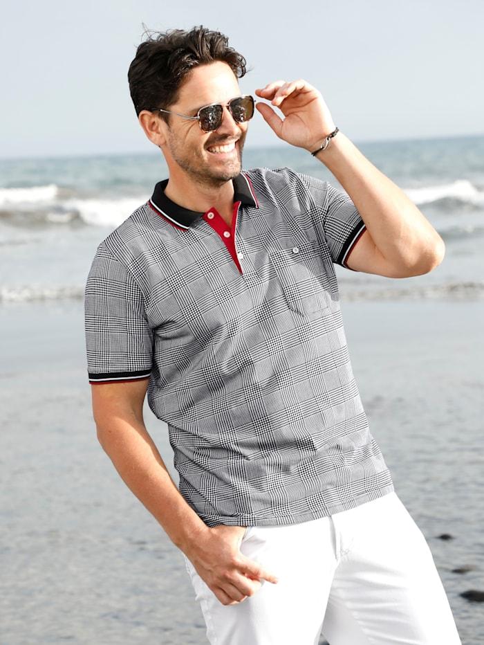 BABISTA Poloshirt mit angesagtem Hahnentritt-Muster, Schwarz/Weiß/Rot