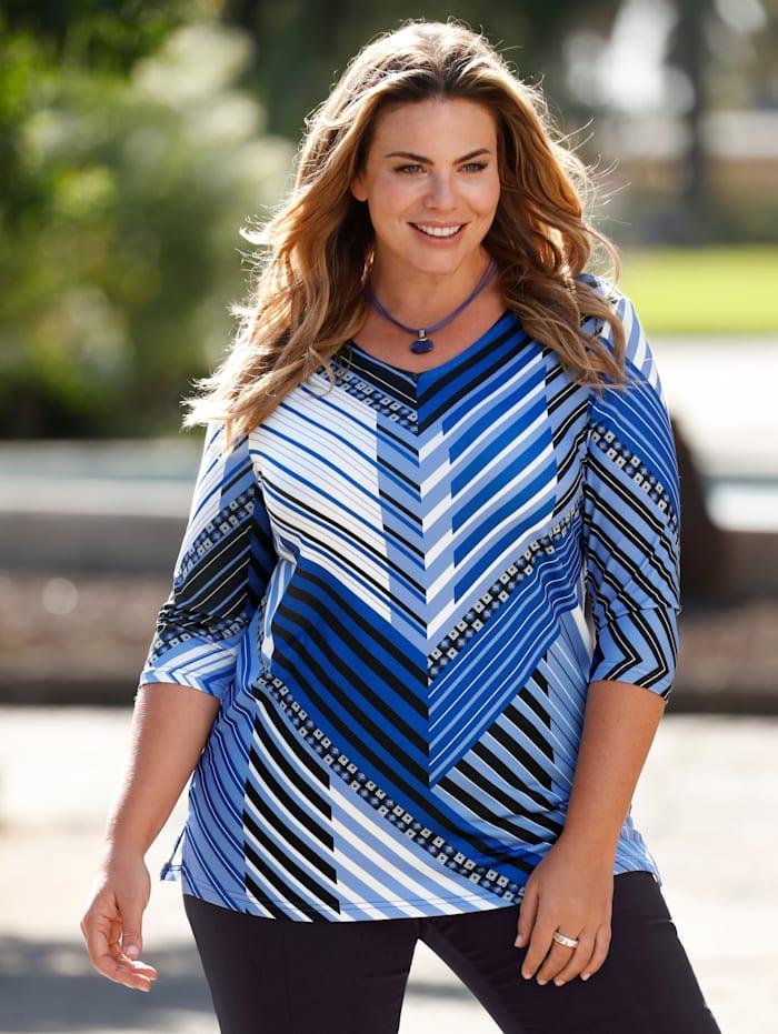 m. collection Shirt met geraffineerd streepdessin, Royal blue/Zwart/Wit