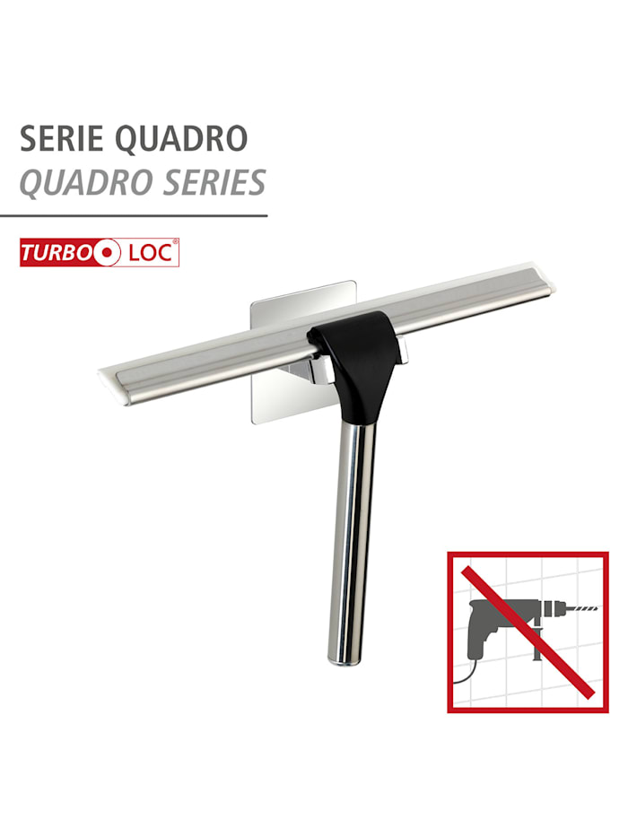 Turbo-Loc® Edelstahl Duschabzieher Quadro, rostfrei, Befestigen ohne bohren