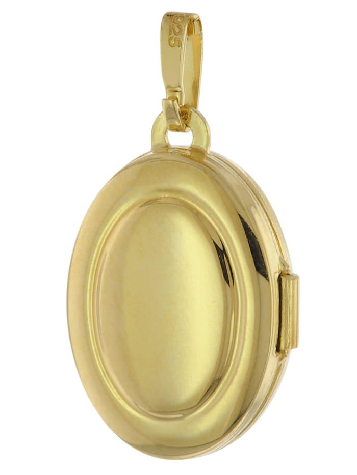 Medaillon 333 Gelbgold mit Vergoldeter Silberkette