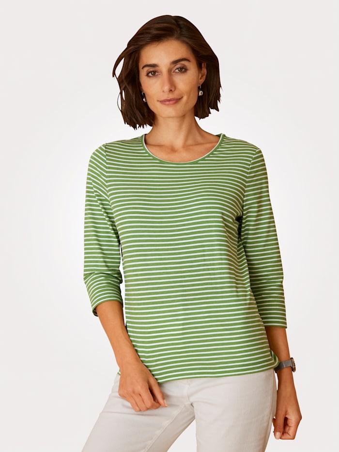 MONA Shirt aus reiner Baumwolle, Grün/Weiß