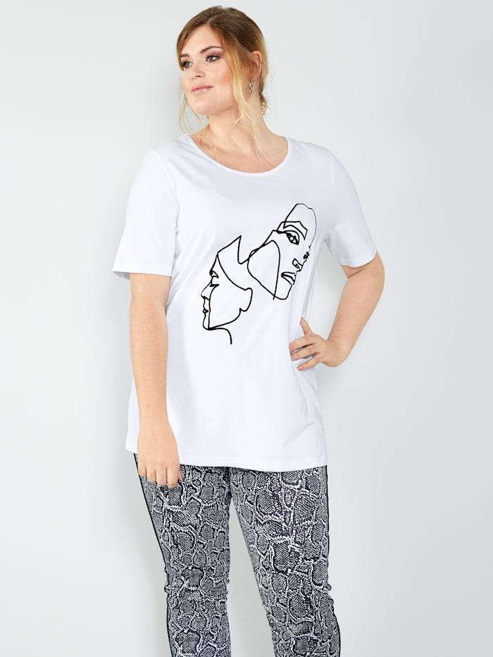 MIAMODA Shirt mit strukturiertem Druck im Vorderteil, Weiß