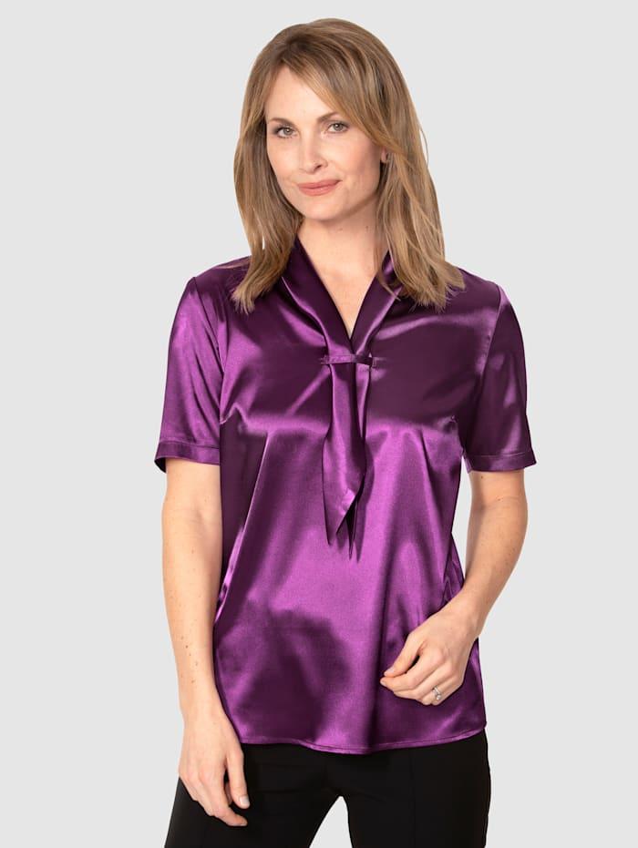 MONA Bluse aus elastischem Satin, Brombeere