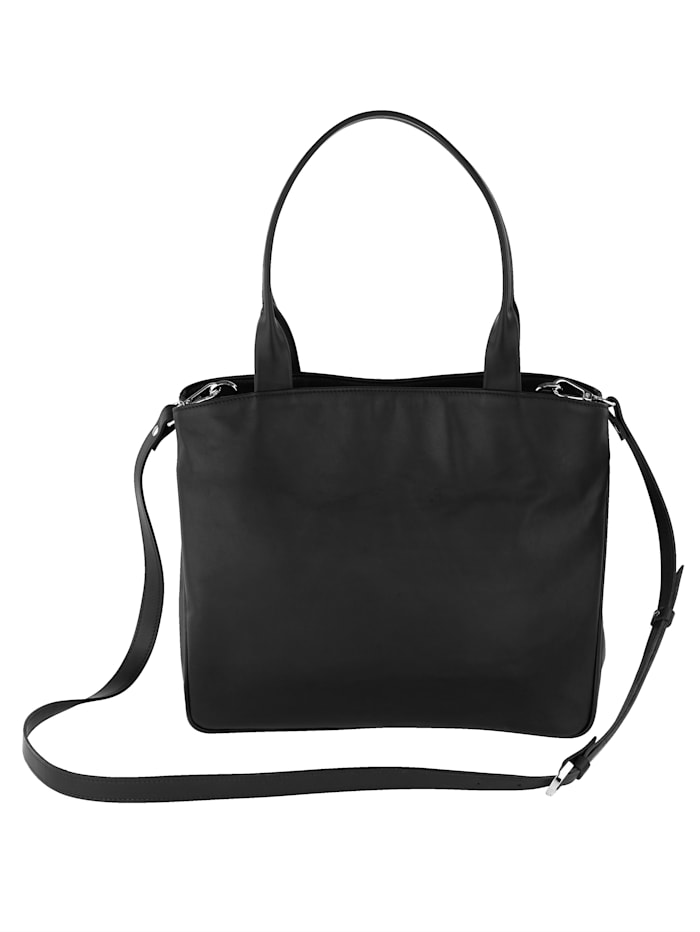 Vamos Handtasche aus hochwertigem Leder, schwarz