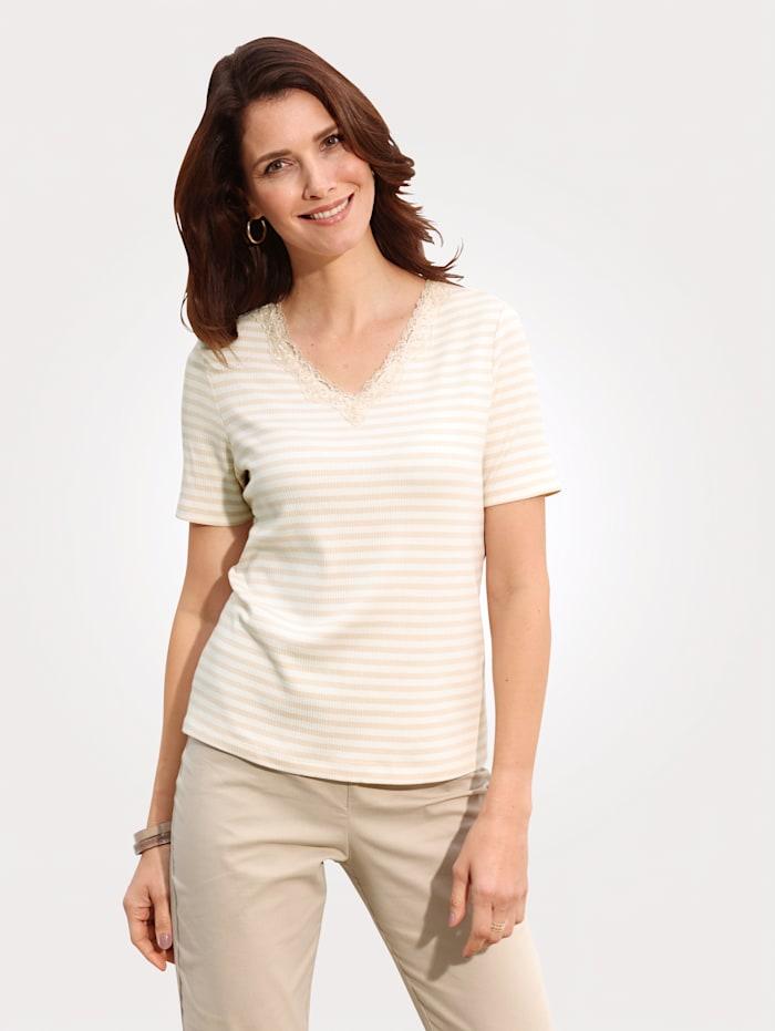 MONA Shirt met geribde structuur, Ecru/Zand