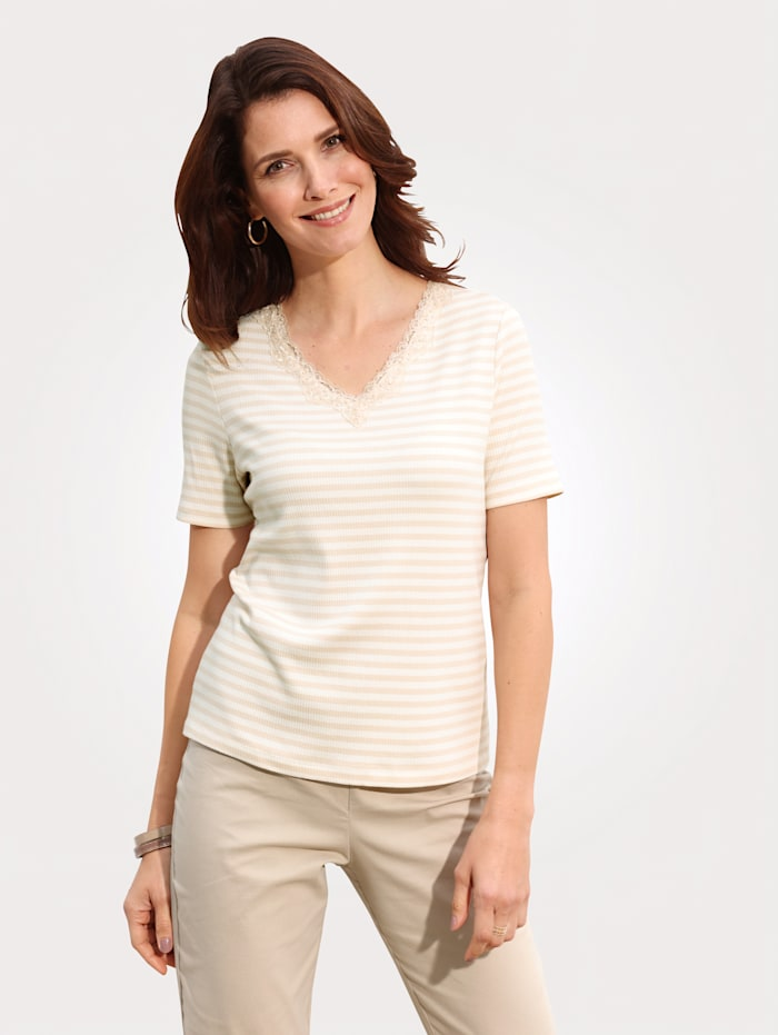 MONA T-shirt en maille côtelée, Écru/Sable