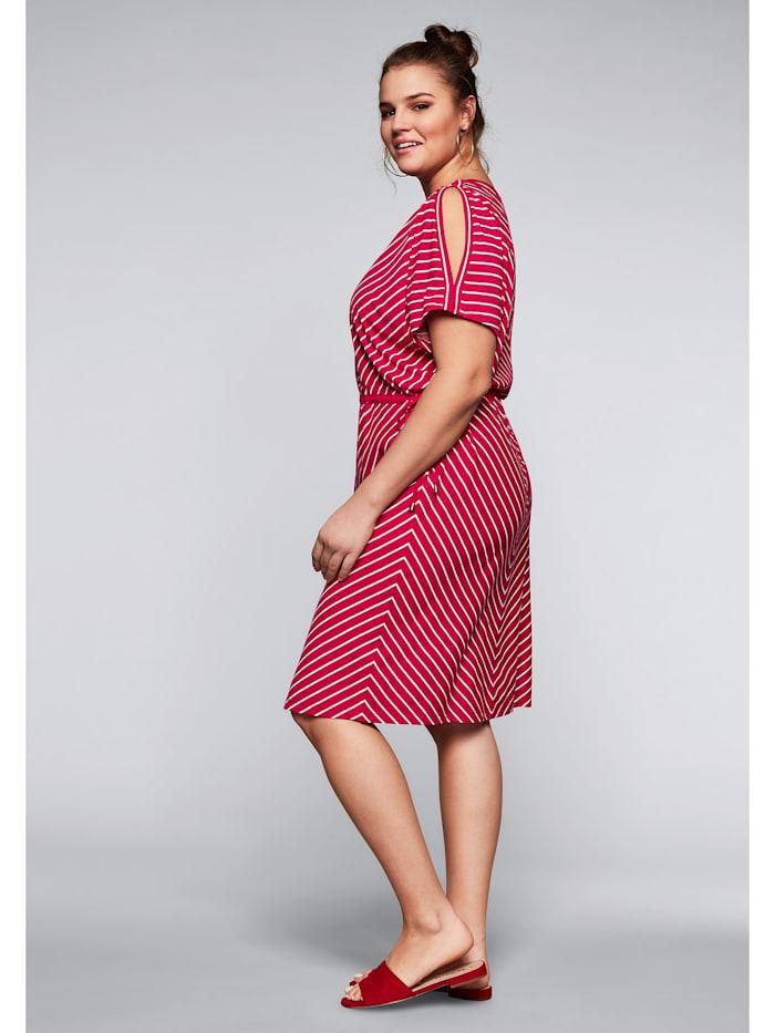 Sheego Jerseykleid mit Cut-Outs im Streifendesign