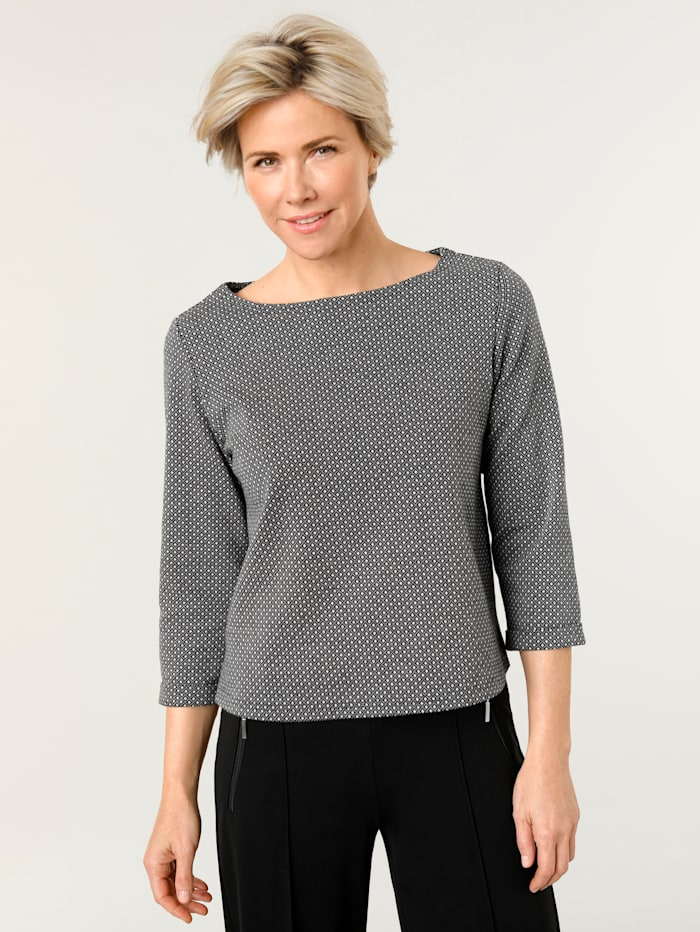 MONA Mikina s minimalistickým žakárovým vzorom, Čierna/Biela