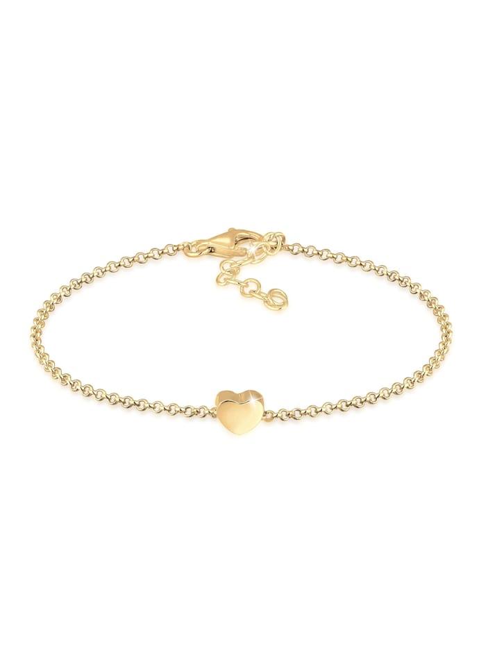 Elli Armband Basic Trend Erbskette Herz Love Liebe 925 Silber, Gold