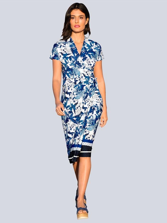Alba Moda Jersey jurk met exclusief ALBA MODA dessin, Blauw/Offwhite